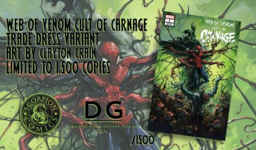 WEB OF VENOM CULT OF CARNAGE 1 W//COA ONLY 1500 RUN CRAIN VARIANT NM IN STOCK!!!!