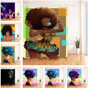 US Ship Afro African Black Woman Flamingo Waterproof Fabric Shower Curtain Set
