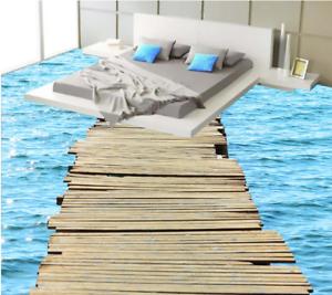 3D Puente Mar Azul Piso impresión de parojo de papel pintado mural 53 5D AJ Wallpaper Reino Unido Limón