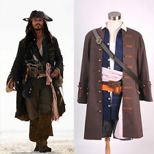 Pirates of the Caribbean Captain Jack Sparrow Costume Cosplay Set *Tailored*