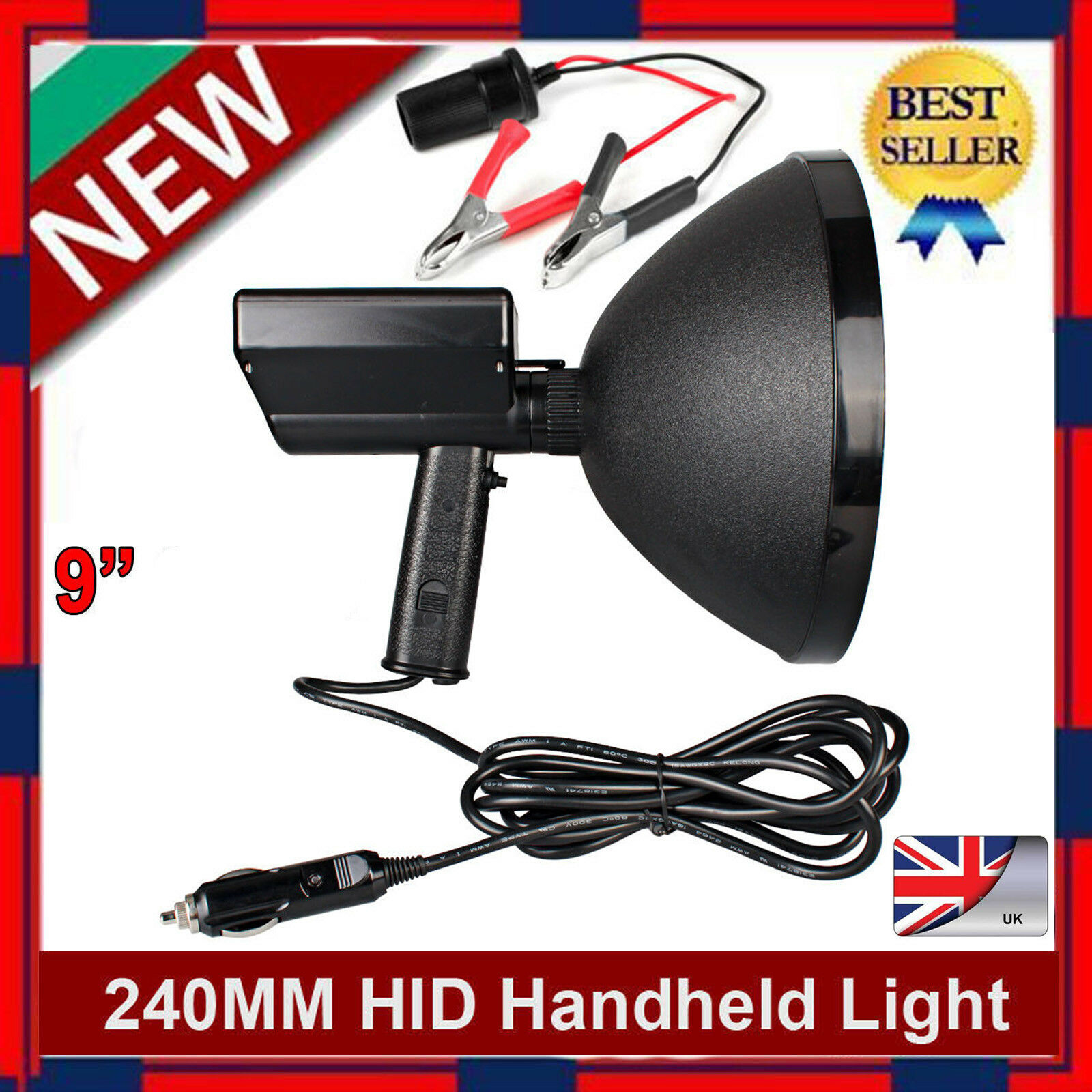 420W HID 9  HANDHELD 240MM CAMPING SPOTLIGHT HUNTING FISHING SHOOTING OFFROAD UK