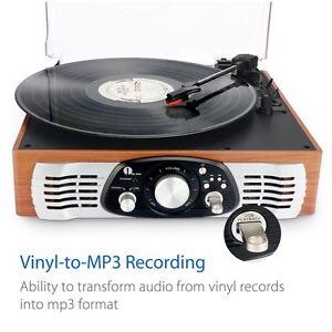 Tourne-Disque-Stereo-3-Vitesses-Enceintes-Tamponnez-Vinyle-MP3-avec-MP3-Out-Rca