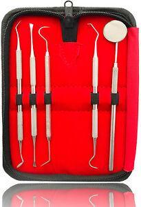 5er-Dental-Set-Zahnreinigung-Zahnsteinentferner-Zahnsonde-Zahnpflege-Mundspiegel