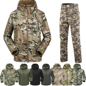 Shark-Skin-Soft-Shell-Men-Military-Tactical-Jacket-Hood-Coat-Pants-Waterproof