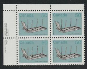 1985 Canada SC# 930 UL - Artifact Definitive - Sleigh - Plate Block M-NH # 1579