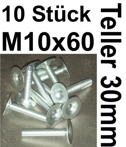 10x TELLERSCHRAUBE Gerätefuß M10 Stellschraube Teller Nivellierfuß Justierfuß