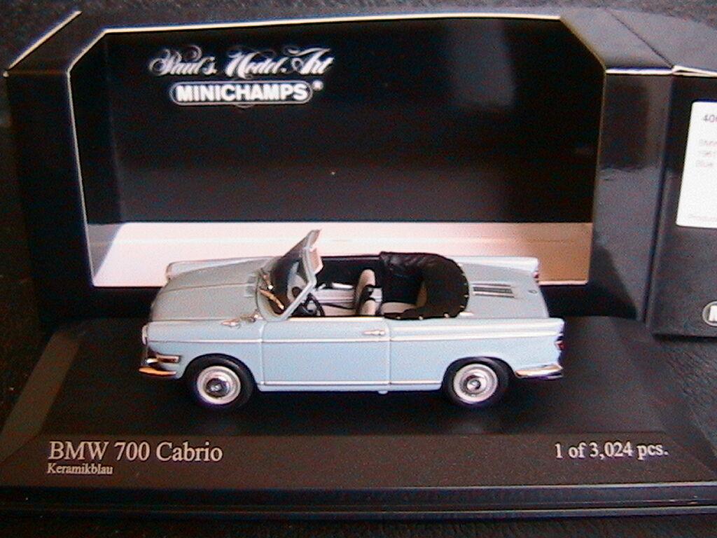 BMW 700 CABRIOLET CABRIOLET CABRIOLET 1961 KERAMIKbleu MINICHAMPS 400023730 1 43 BLEU CERAMIQUE 7e029a