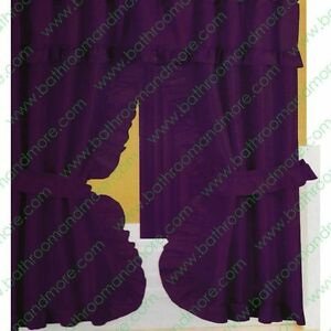 Double Swag Fabric Shower Curtain 12 Matching Hooks 2 Tie Backs Hooks Eggplant Ebay