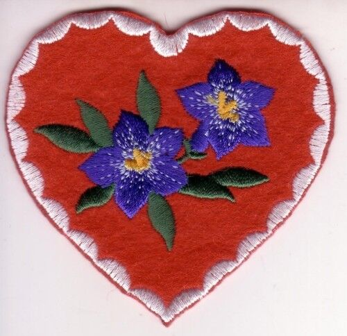 Blue Eyed Grass Flower Heart Embroidery Patch