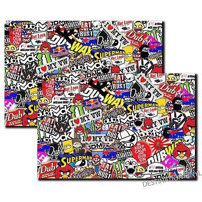 2 x A4 Sticker Bomb Vinyl Wrap Car VW Volkswagen Dub Drift Golf Camper Van #4049