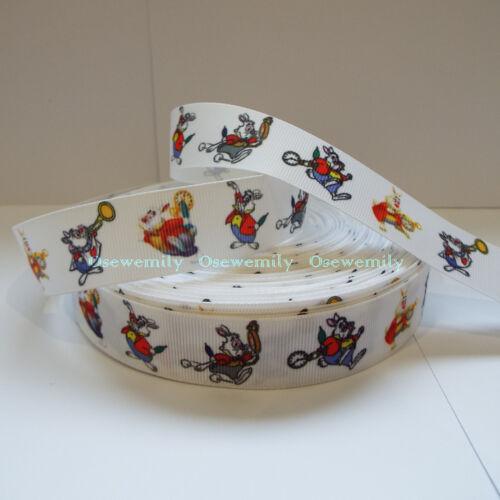 Per Metre Alice in Wonderland Grosgrain ribbon 22//25mm Party Cake// Hair Bows