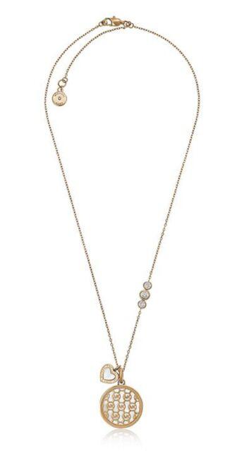 967274fcd19f Michael Kors MKJ5641 791 MK Monogram Heart Charm Rose Gold Pendant MOP  Necklace