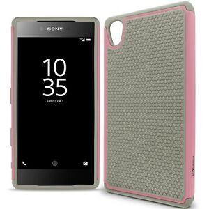 official photos 4ec6f a36c2 Details about For Sony Xperia Z5 Premium Case - Gray / Light Pink Rugged  Skin Phone Cover