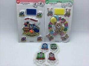 Vtg-1991-Wilton-Birthday-Cake-Topper-Set-Candles-Sealed-Train-Bears-amp-Thomas-Lot