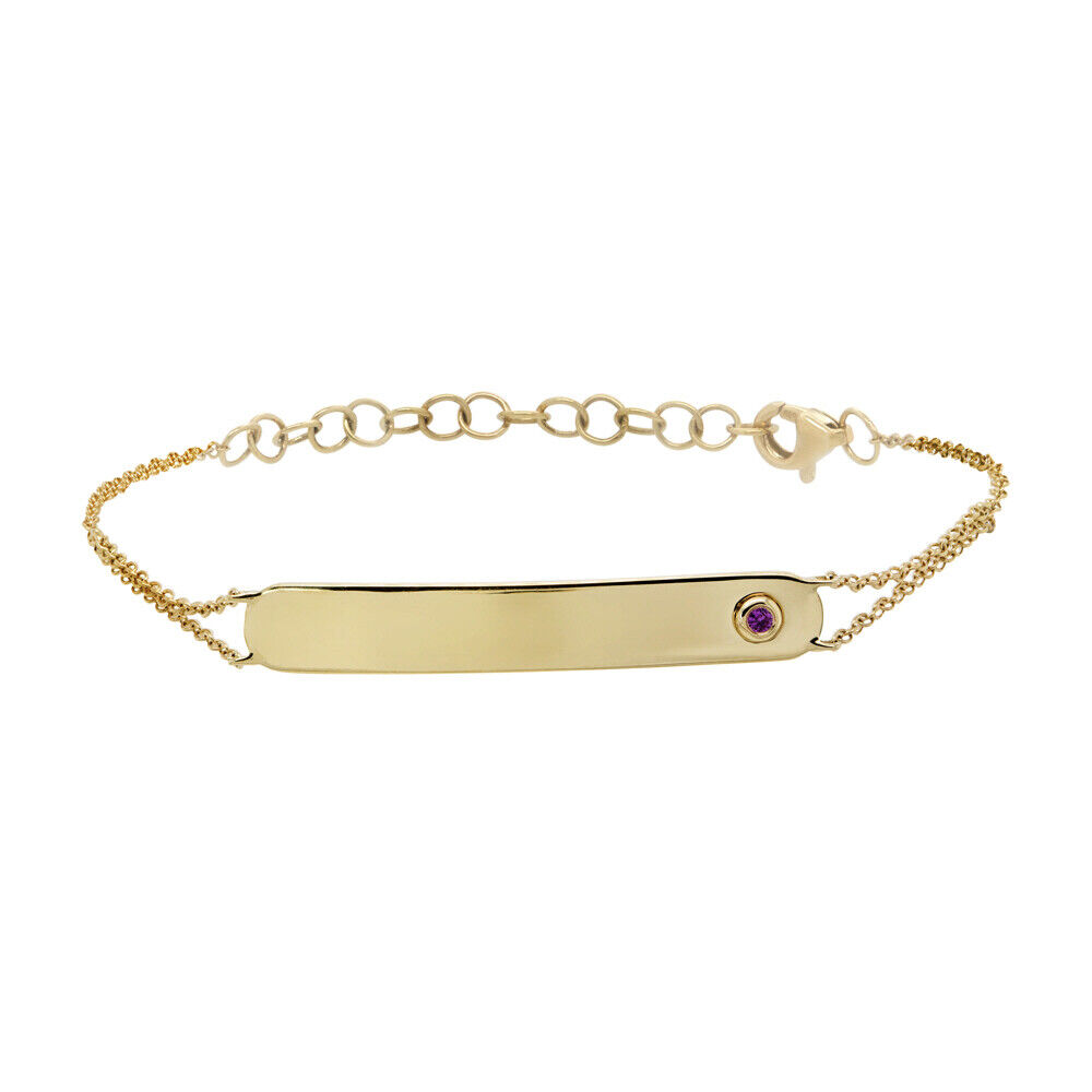 0.02 CT 14K Yellow gold Natural Real Round Cut Pink Sapphire ID Bar Bracelet