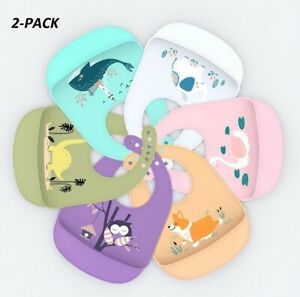 2-Pack-Lightweight-Silicone-Baby-Bibs-Easily-Wipe-Clean-For-Babies-amp-Toddlers