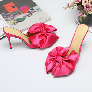 Women-Ladies-Satin-Bow-High-Heel-Mules-Pointed-Toe-Stiletto-Slippers-Party-Shoes