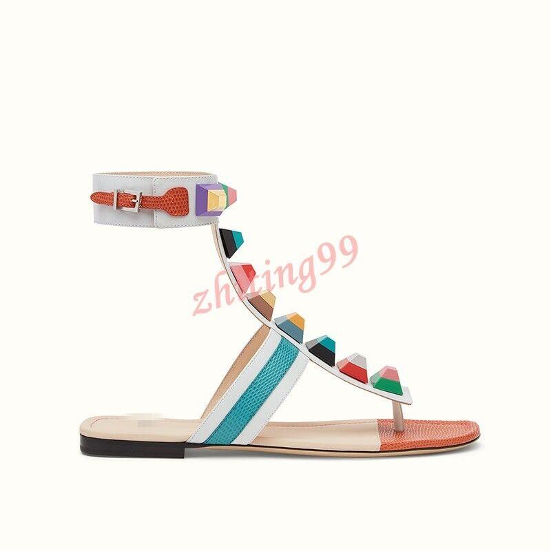 Summer Womens Flats Flip Flops Sandals Plus Size Ankle Strap fashion shoes Boho