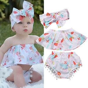 3PCs Infant Baby Girl Floral Off Shoulder Sleeveless Top+Shorts Outfit Clothes c