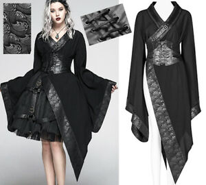 Veste-robe-kimono-asymetrique-gothique-neo-cyber-geisha-dentelle-corset-PunkRave