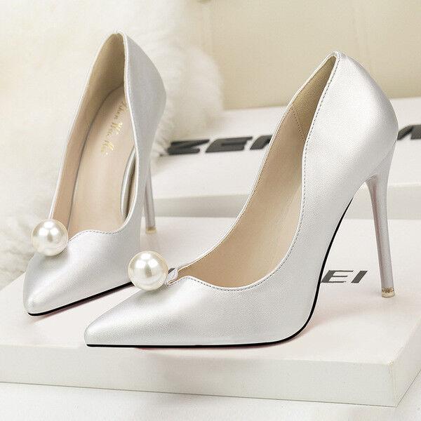 Zapatos de salón mujer 10 elegantes tacón aguja aguja aguja plata perlas como piel 9657  Ahorre hasta un 70% de descuento.