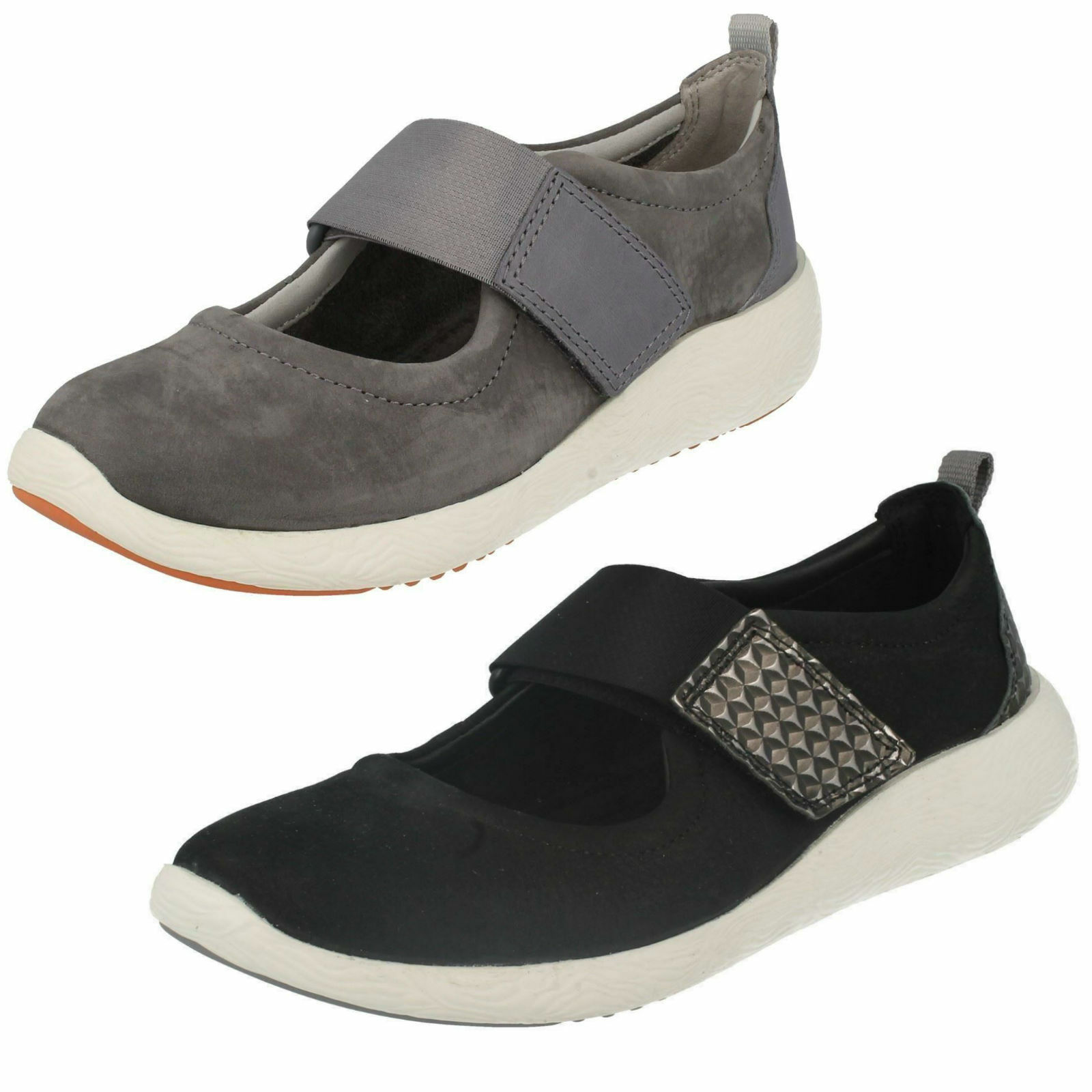 Ladies Clarks Cowley Folly Black Or Grey Nubuck Leather Strap Shoes