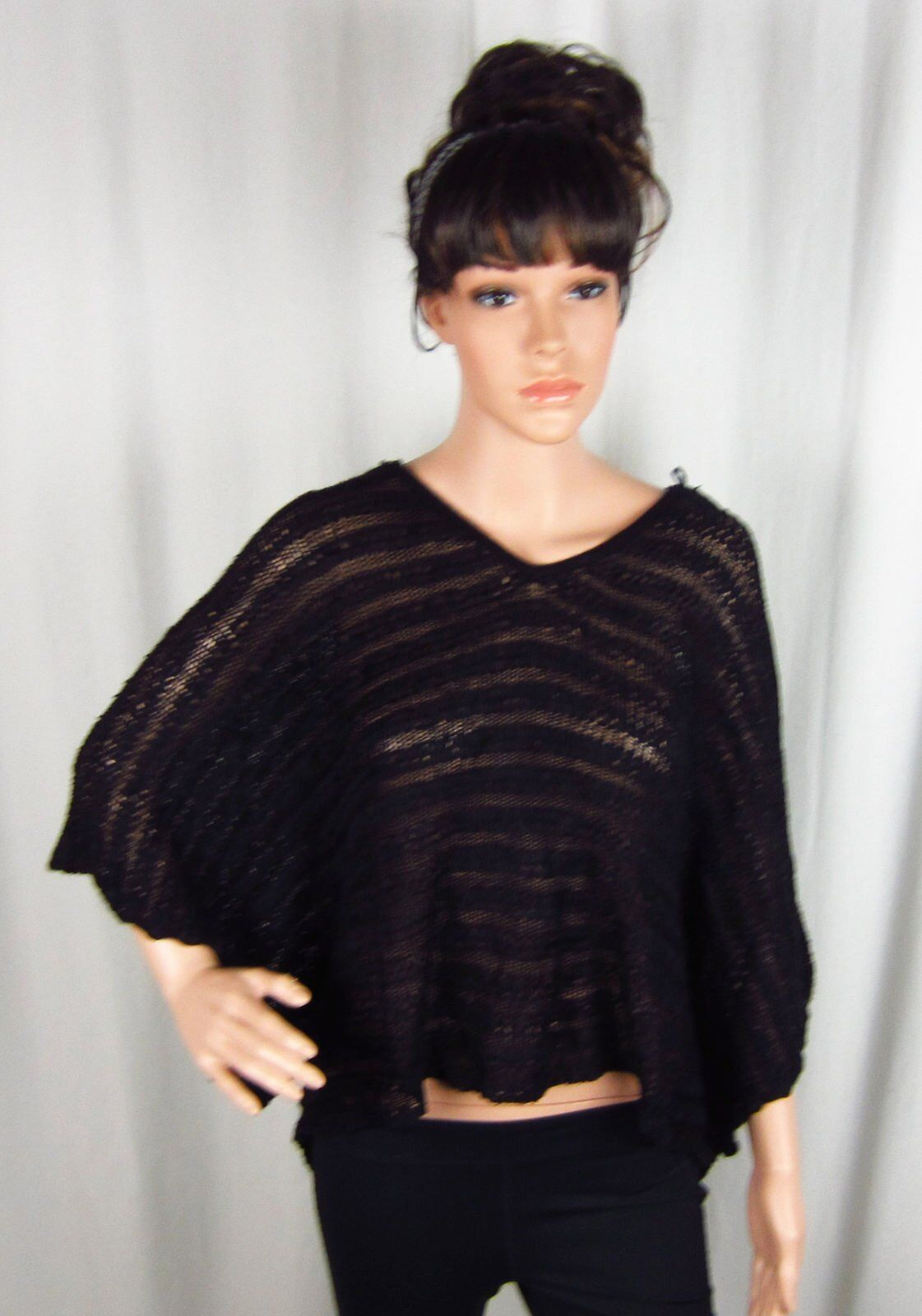 Inc International Concepts schwarz Texturot Hooded Poncho Größe 0x 1x NWT