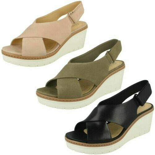 Womens clarks stylish with cinch back wedge sandals palm Candid