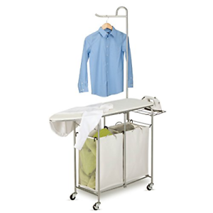 Honey-Can-Do Rolling Laundry Sorter with Ironing Board and Shirt Hanger