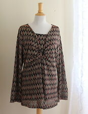 Coldwater Creek Art-to-Wear Ethnic Textured Chevron Knit Tunic Travel Top Sz L