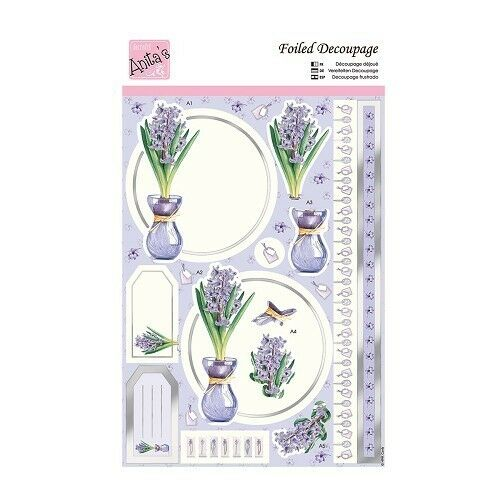 ANITAS FOILED DECOUPAGE PURPLE HYACINTH FOR CARDS /& CRAFTS