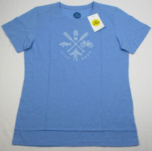 09a1be6d2304 Life is Good Women's Ss Cool Tee Outdoor Action Blue T-Shirt Sz M ...