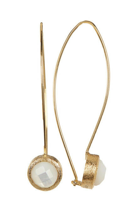 Rivka Friedman 18K gold Clad Cascading Bezel Set,  Mother of Pearl Earrings