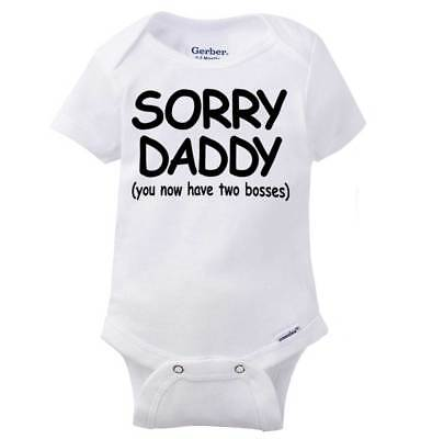 Unisex baby bodysuit ShortLong sleeve onesie\u00ae Baby shower gift Baby boy or girl Sorry daddy you now have 2 bosses  Baby onesie\u00ae