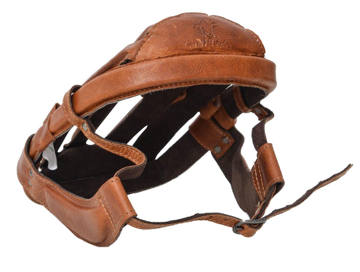 Gustl in pelle studio JACQUES A. Casco Design Retrò CASCO in pelle di bufalo testa