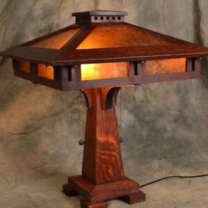 Mission Oak Prairie Craftsman Table Lamp With Mica Shade Panels Ebay
