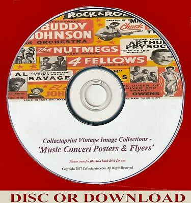 PRINT VINTAGE MUSIC FLYERS ☆ 200x Enhanced Images Disc   ☆ CONCERT POSTERS