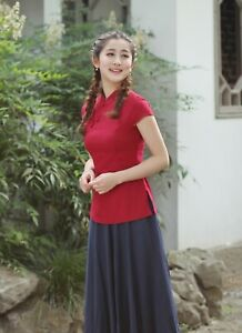 Chinese-Traditional-Tops-Women-Linen-Shirt-Summer-Blouse-Size-M-3XL