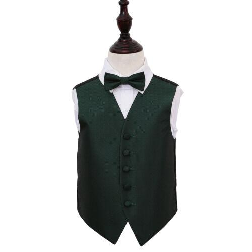 DQT Woven Greek Key Patterned Dark Green Boys Wedding Waistcoat Bow Tie Set