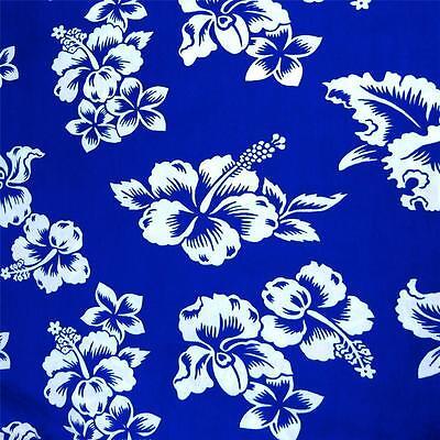 Reversible 100% Cotton Hawaiian Print by Alexander Henry, White Kokio on Blue