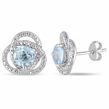 Amour Silver Blue Topaz and 1/10ct TDW Diamond Love Knot Earrings