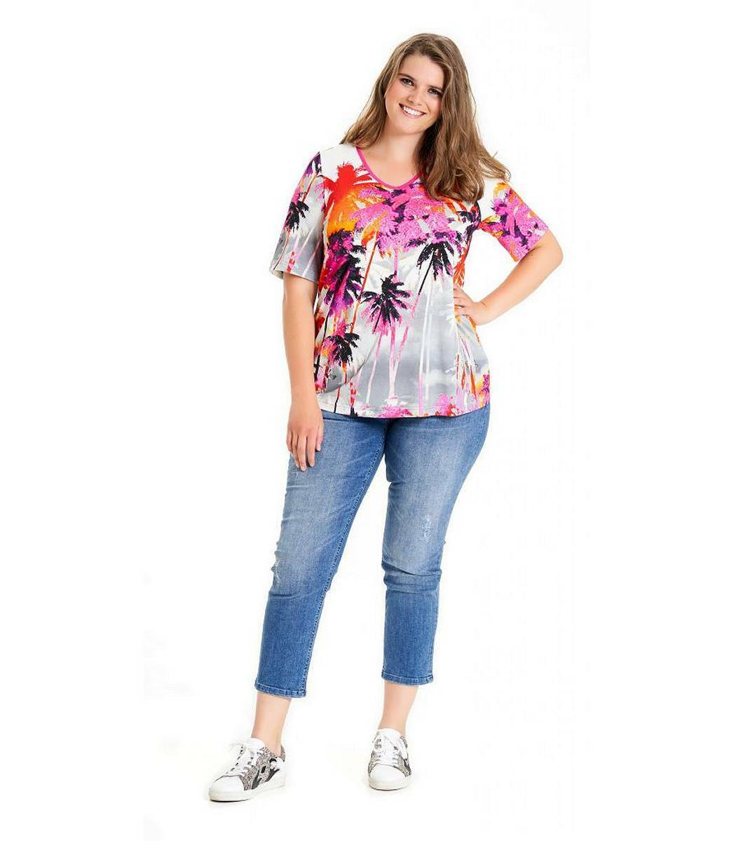 Chalou Damen T-Shirt A-Linie Weiß Gau Rosa Orange Kurzarm große Größen Palmen