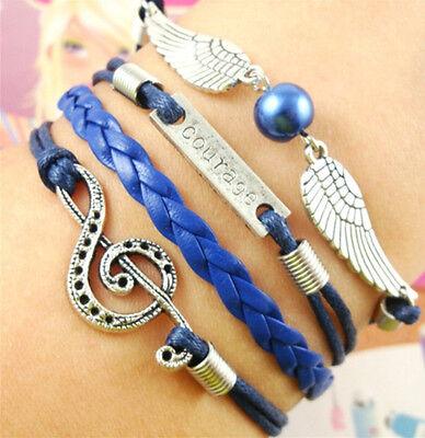 NEW DIY Style Jewelry fashion Leather Cute Infinity Charm Bracelet Silver SL198