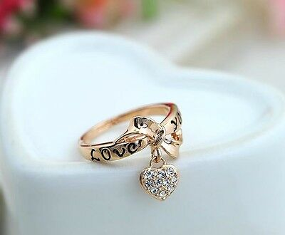 18K GP Rose Gold Crystal Love heart bowknot Ring Size : 6 7 8 9