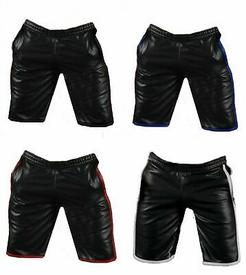 Mens Real Leather Shorts Gym Sport Jogging Basket Ball Cargo Shorts Sheep Lamb Leather