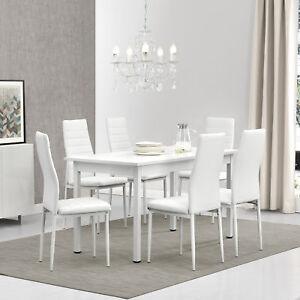 esstisch mit 6 st hlen wei 140x60cm k chentisch esszimmertisch tisch ebay. Black Bedroom Furniture Sets. Home Design Ideas