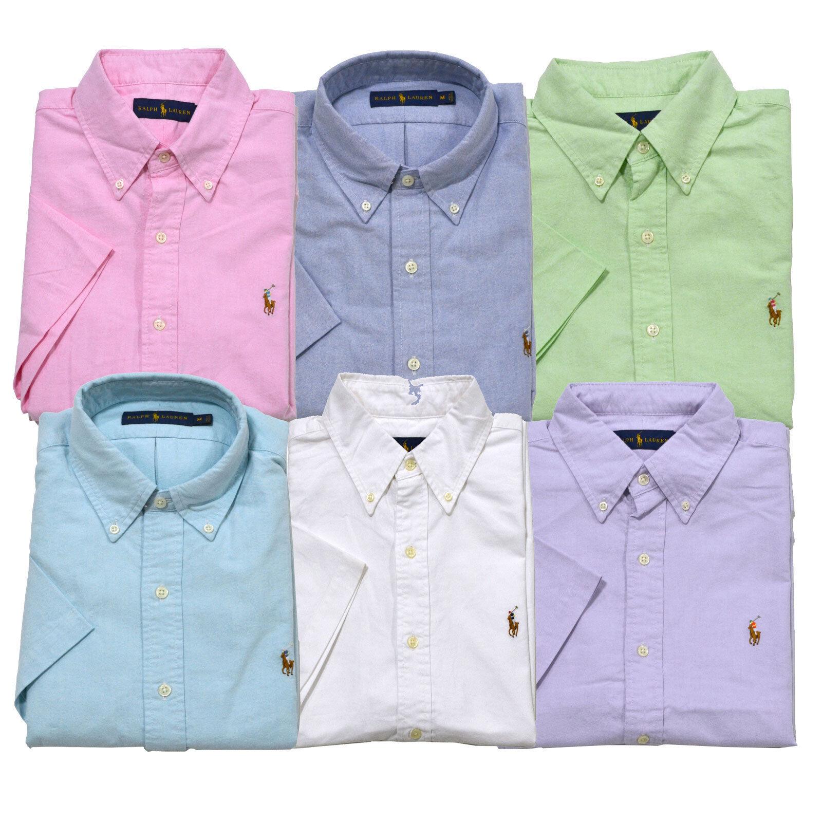 Polo Ralph Lauren Shirt Oxford Button Down Mens Short Sleeve Casual S M L Xl New