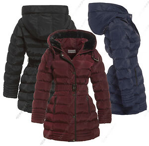 NEW-Size-8-10-12-14-16-Womens-PADDED-COAT-Ladies-JACKET-Fur-Quilted-Black-Parka