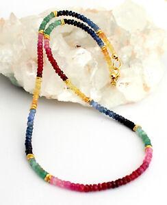 Rubin-Saphir-Smaragd-Kette-edelsteinkette-Regenbogenkette-Bunt-Collier-925Silber