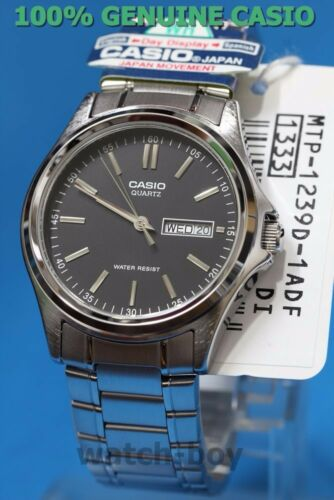 1 of 1 - MTP-1239D-1A Black Casio Men's Watches Analog Stainless Steel Band New Day Date